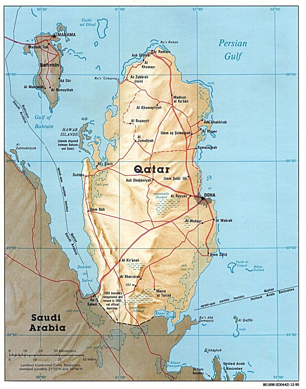 Map of Qatar where helium production has recently stopped due to a blockade